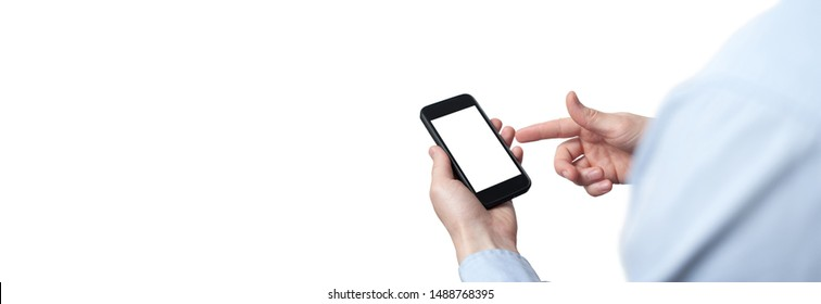 close-up hand touching smartphone screen isolated on white, mock up phone mobile blank screen easy adjustment with clipping path. Copy space. Free space for your text