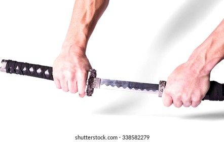 close-up of a hand unsheathing a ninja sword - Isolated