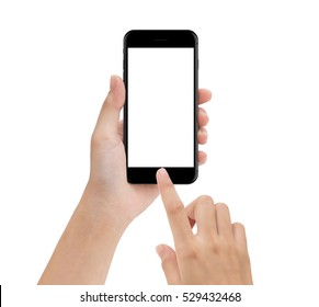 close-up hand using phone mobile isolated on white, mock up smartphone blank screen easy adjustment with clipping path