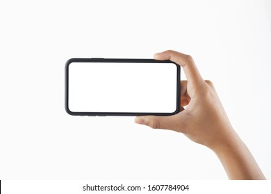 closeup hand woman holding black smartphone blank screen isolate on white background