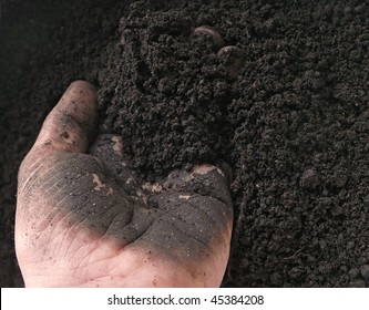 closeup of hand working with rich soil