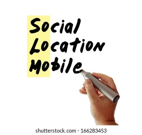 Closeup of a hand writing the message Social Location Mobile with a marker, possibly for a business or Internet / Web strategy, isolated on a white background, with So Lo Mo highlighted.
