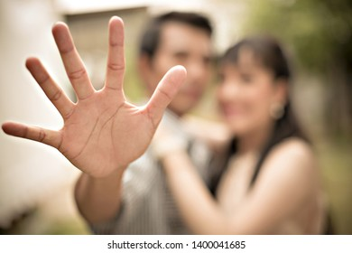 Close-up of hand, Young couple in love, Selective focus, Blurred.