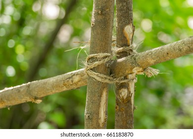 Closeup of handmade wooden fence made of branches.