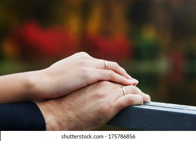 closeup of hands of bridal couple with wedding rings on nature background