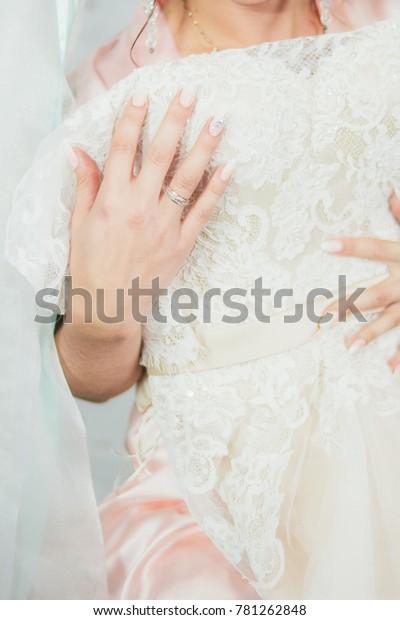 Closeup Hands Bride Wedding Ring Beautiful Stock Photo Edit Now