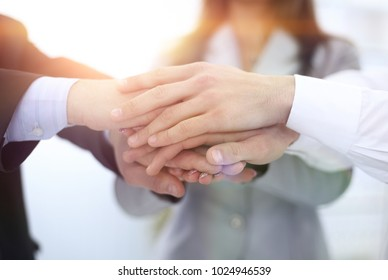closeup: hands business team stacked together