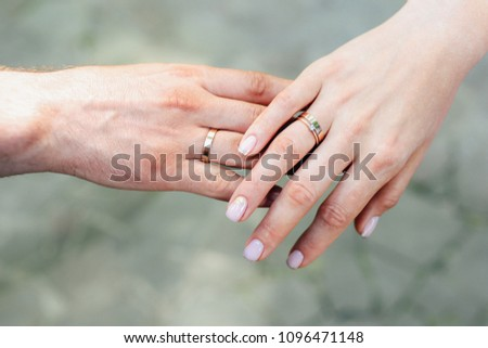 15e7ede5b3 Close Up Hands Couple Wedding Rings Stock Photo (Edit Now ...