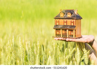 Close-up of hands holding a house on a green meadow background.