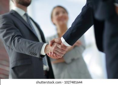 closeup of handshake of business partners