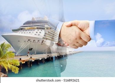 Closeup of handshake on luxury cruise ship background