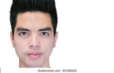 Close-up Handsome smiling young asian man isolated on white background. Human Face.