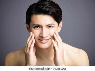 closeup Handsome young men face