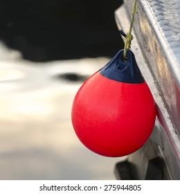 Close-up of hanging commercial fishing buoy, Skeena-Queen Charlotte Regional District, Haida Gwaii, Graham Island, British Columbia, Canada