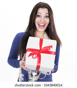 closeup. happy beautiful woman with Christmas gift
