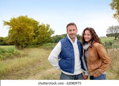 Closeup of happy couple in autumn