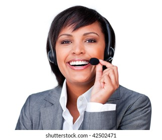Close-up of a happy customer service agent with headset on isolated on a white background