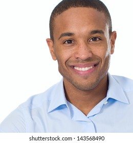 Close-up Of Happy Man Isolated On White Background