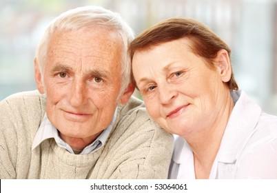Closeup of a happy senior couple