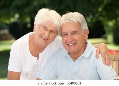 Closeup of happy senior couple