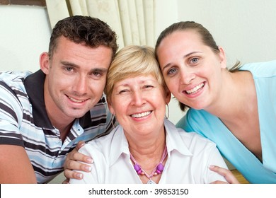 closeup of happy a senior mother and her kids