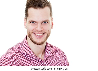 Closeup of happy smiling guy looking at camera isolated on white background