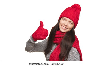 6867702028560 Closeup of happy woman wearing red warm winter hat