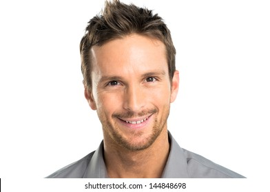 Closeup Of Happy Young Man Isolated Over White Background