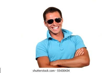 Closeup of a happy young man looking at camera
