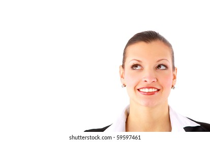 Closeup of a happy young woman surprised