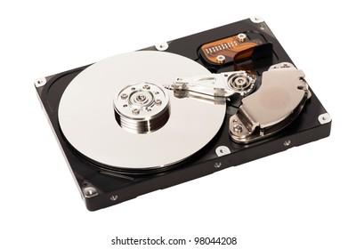 closeup of a hard disk