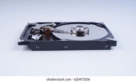 Closeup of  Hard disk. Desktop hard disk drive on white background. Selective focus.