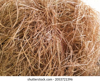 Closeup haystack pile which is tided with rope for sale in market. Haystack background. Haystack. Hay stack. Haystacks. Paddy haystack. Animals dry food. Dried paddy plant.