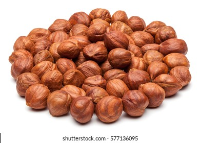 Closeup of hazelnuts, isolated on the white background, clipping path included.