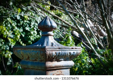 Closeup of head of an ancient fountain ina garden in a sunny day