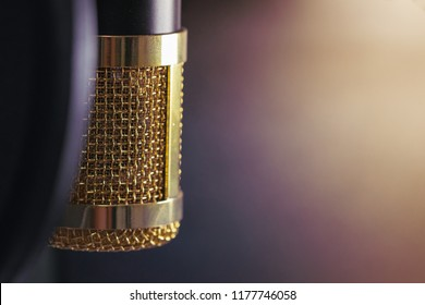 Close-up the head of condenser gold microphone. The light from right side. Artistic style.