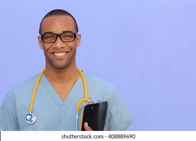 Closeup head shot portrait of confident healthcare professional with copy space on the right