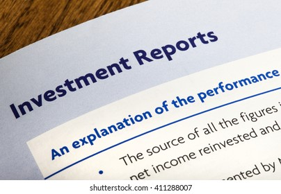 Close-up of a heading for Investment Reports in an information booklet.