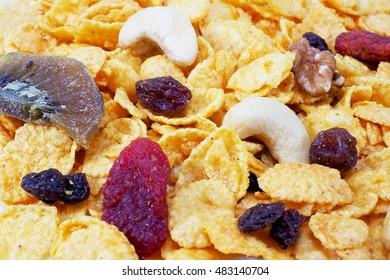 closeup of healthy cornflakes.