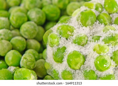 Closeup of a heap of frozen peas
