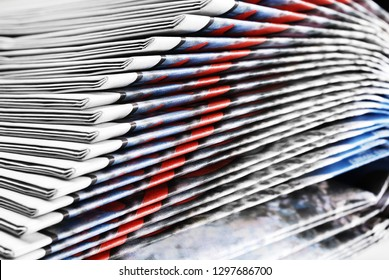 Close-up of Heap of Old Folded Newspapers, Selective Focus
