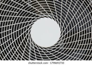 close-up of heat pump fan blades