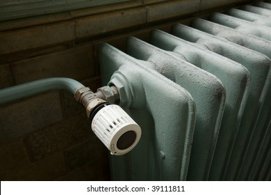 Closeup of a heating radiator in an old building