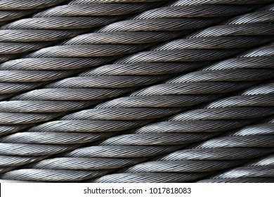 Closeup of heavy duty new steel cable.Texture and background