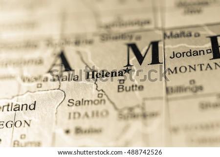 Closeup Helena Montana On Political Map Stock Photo Edit Now