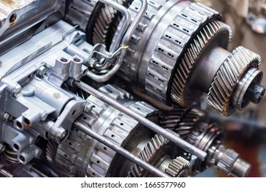 Close-up helical gears in car automatic transmission
