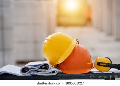 Close-up helmet in the construction site