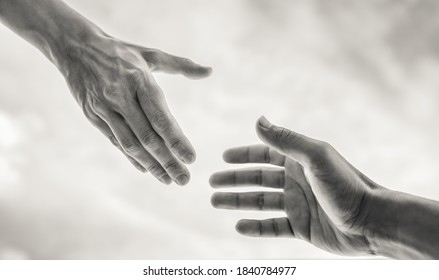 Closeup of helping hand. Helping a friend in need concept.