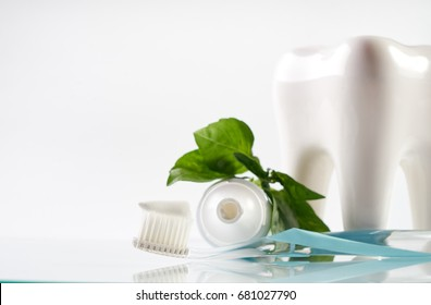 Close-up of a herbal toothpaste on toothbrush with white healthy ceramic tooth model ,tube and green herb isolated on white background with copy space. Dental care concept.