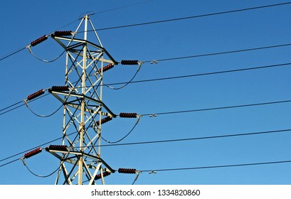 Close-up of a high voltage transformers and wires